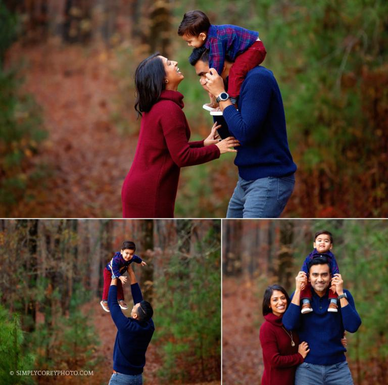 Newnan family photographer, toddler on dad's shoulders outside