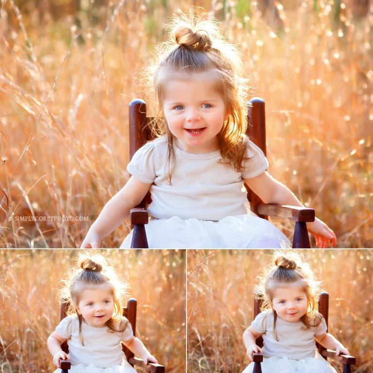 Newnan baby photographer, toddler in chair in golden grass