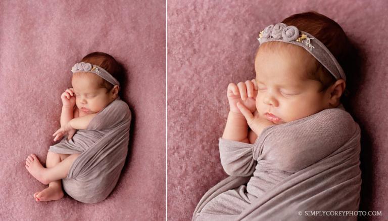 Douglasville newborn photographer, baby girl in a purple wrap set