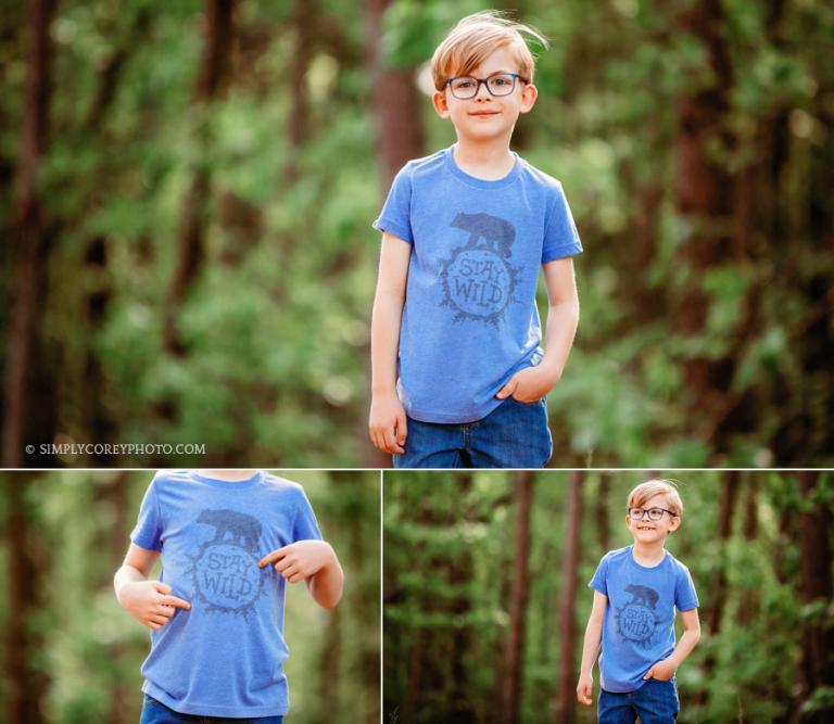 commercial photographer Carrollton, Georgia; child model in glasses outside