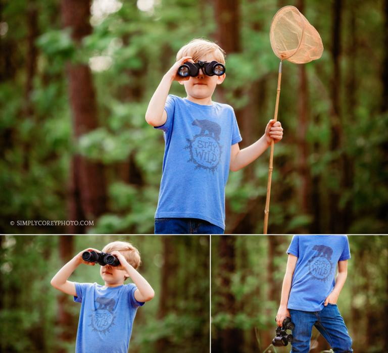 Villa Rica commercial photographer, child model outside with binoculars