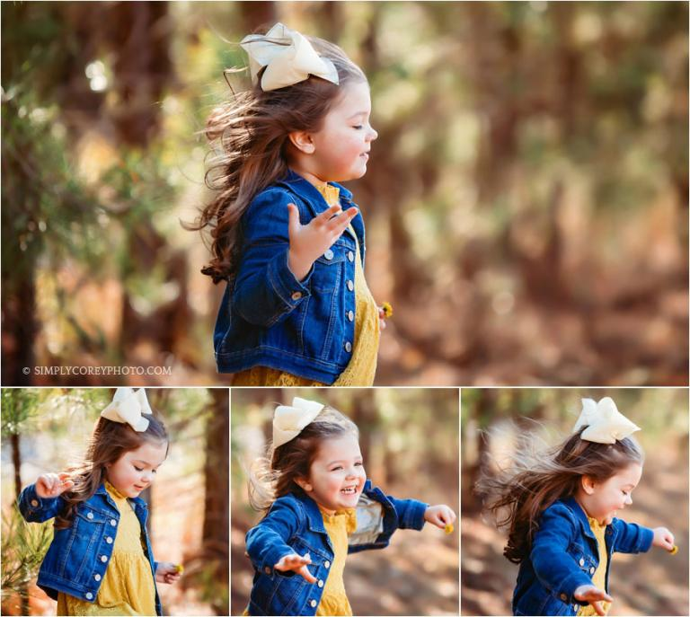 Newnan children's photographer, girl with wind blowing through hair outside