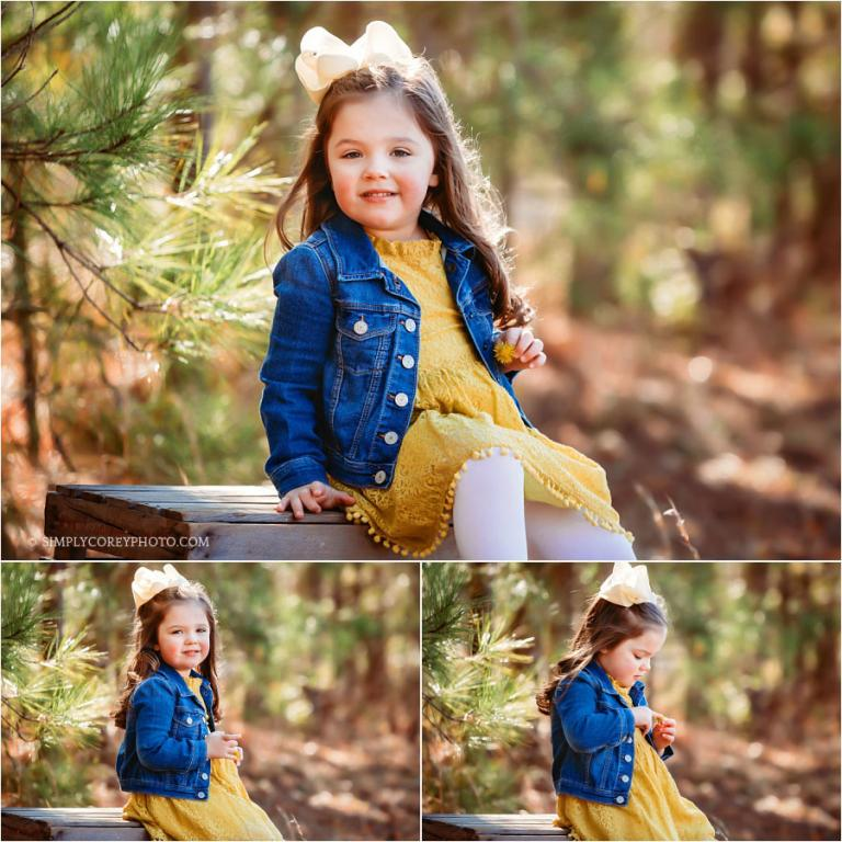 West Georgia children's photographer, girl in yellow dress and denim jacket