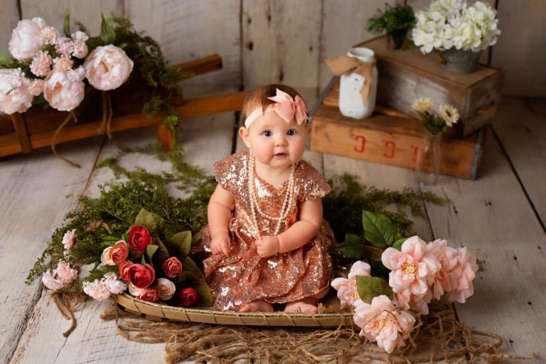 baby photographer Villa Rica, girl in pink sequins dress