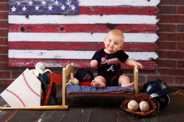 Carrollton baby photographer, Atlanta Braves baseball sitter session