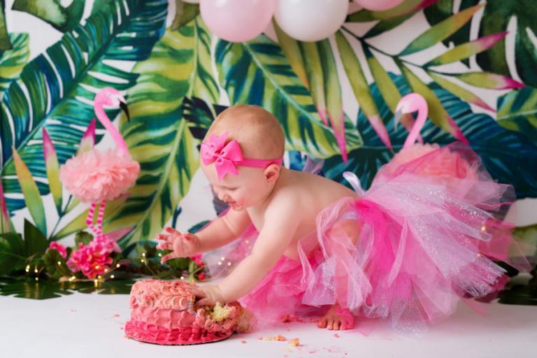 Carrollton cake smash photographer, baby pink flamingo session