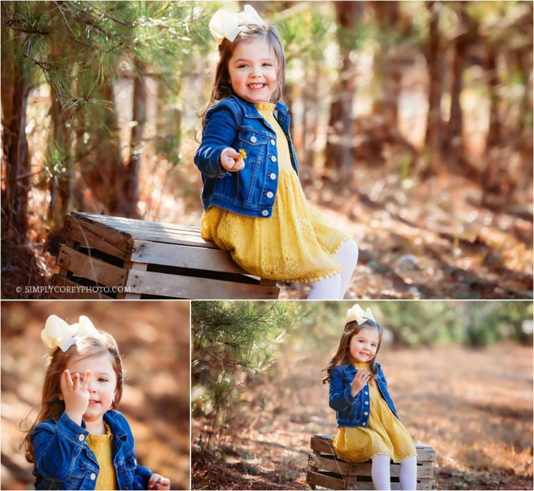 Douglasville children's photographer, girl outside in a denim jacket
