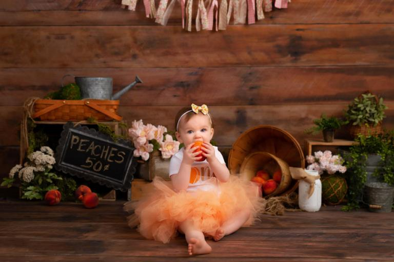 Newnan baby photographer, peach one year session