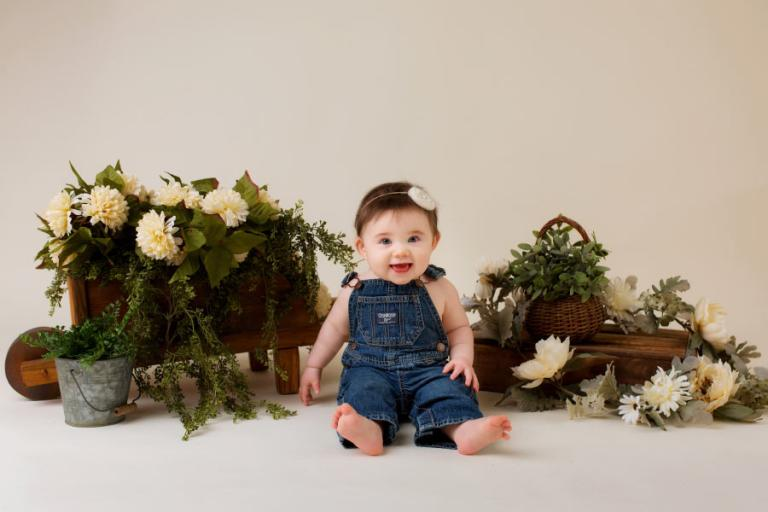 Villa Rica baby photographer, studio sitter session with flowers