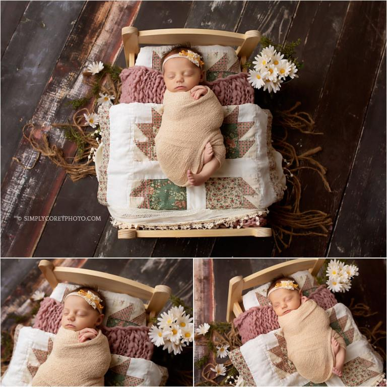 West Georgia newborn photographer, baby on bed with quilts