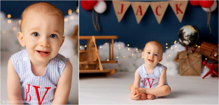 Newnan baby photographer, one year old in monogrammed jon jon