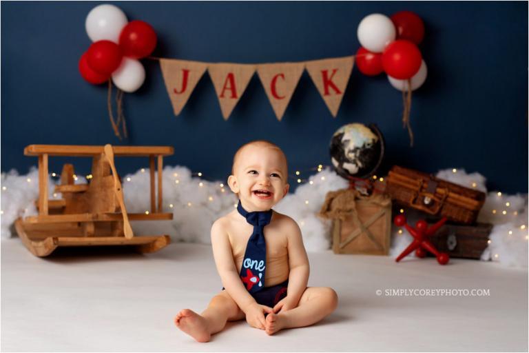 Villa Rica baby photographer, airplane studio milestone session