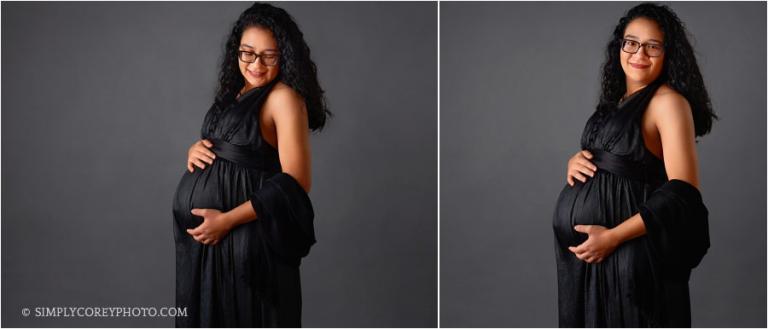 maternity photographer Villa Rica, pregnant woman in black dress