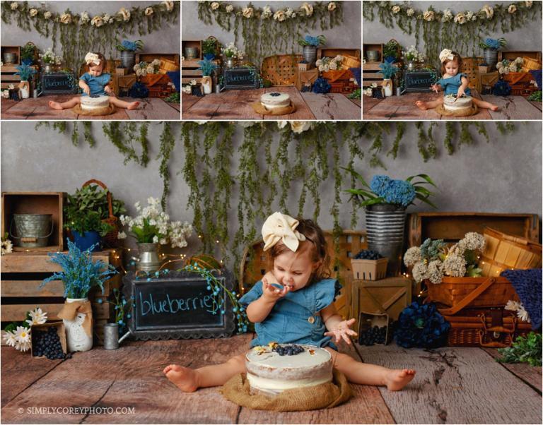 cake smash photographer Carrollton, Georgia; blueberry studio theme