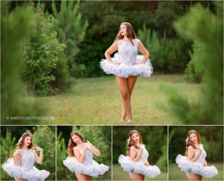 Bremen senior portrait photographer, teen in ballet costume outside