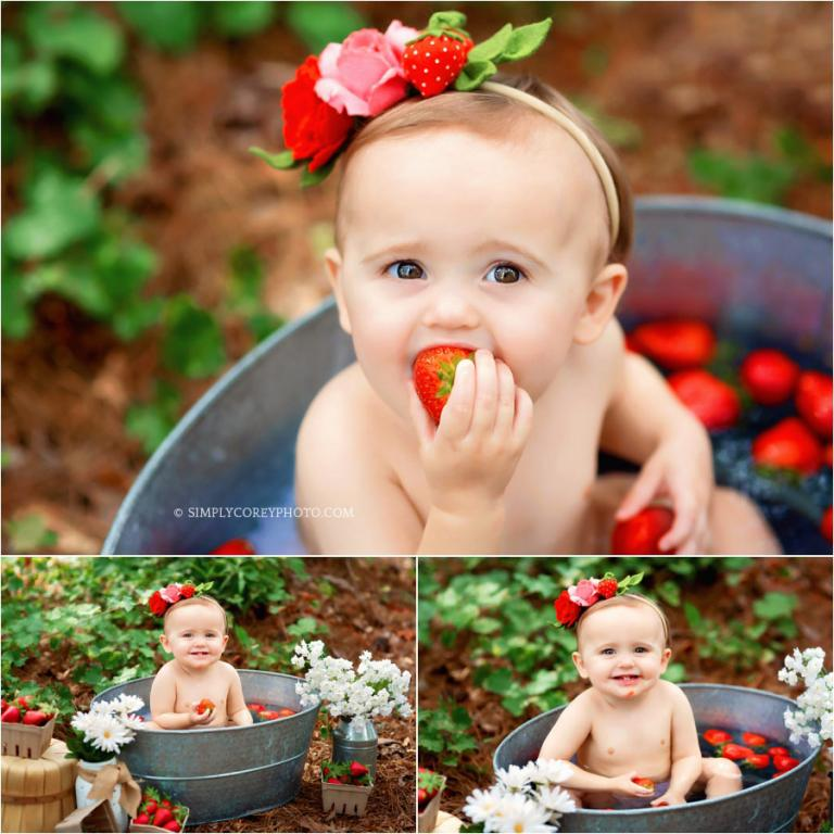 Atlanta baby photographer, outdoor strawberry bath session