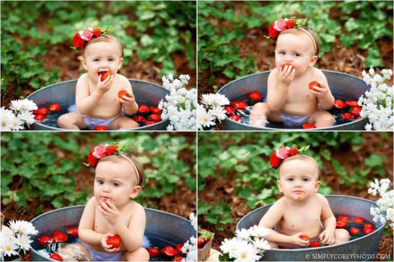 baby photographer Carrollton, Georgia; strawberry bath outside