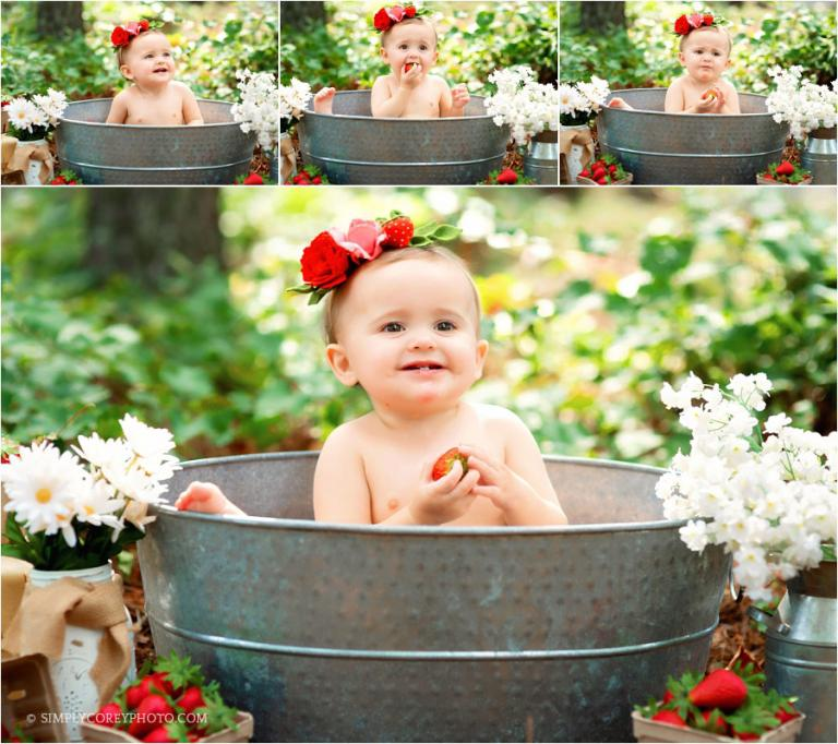 Douglasville baby photographer, strawberry bath session outside