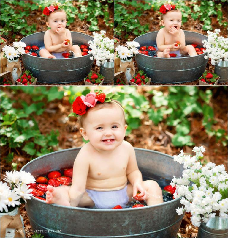Newnan baby photographer, girl smiling in strawberry bath