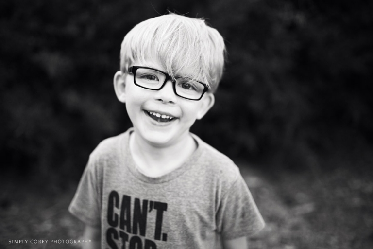 boy with glasses in black and whit by Atlanta child photographer