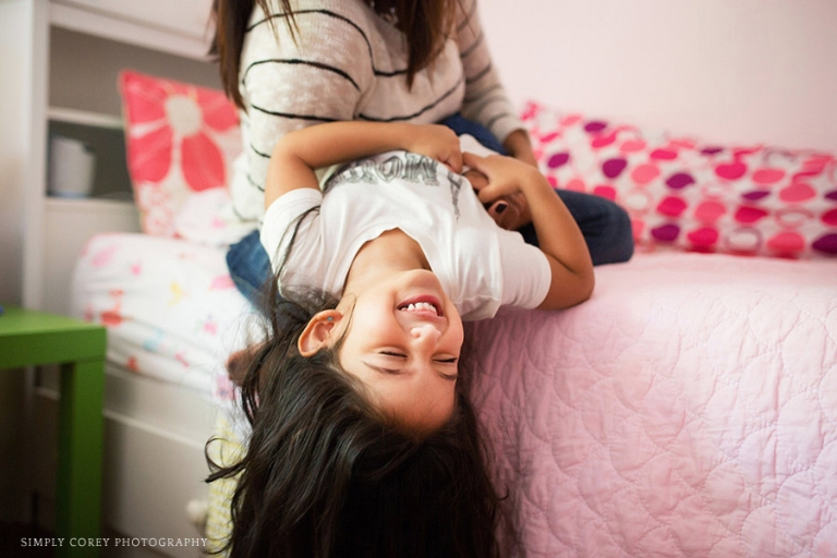 girl laughing with Mom by Atlanta lifestyle photographer