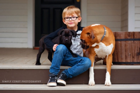 boy with dogs by Atlanta children's photographer