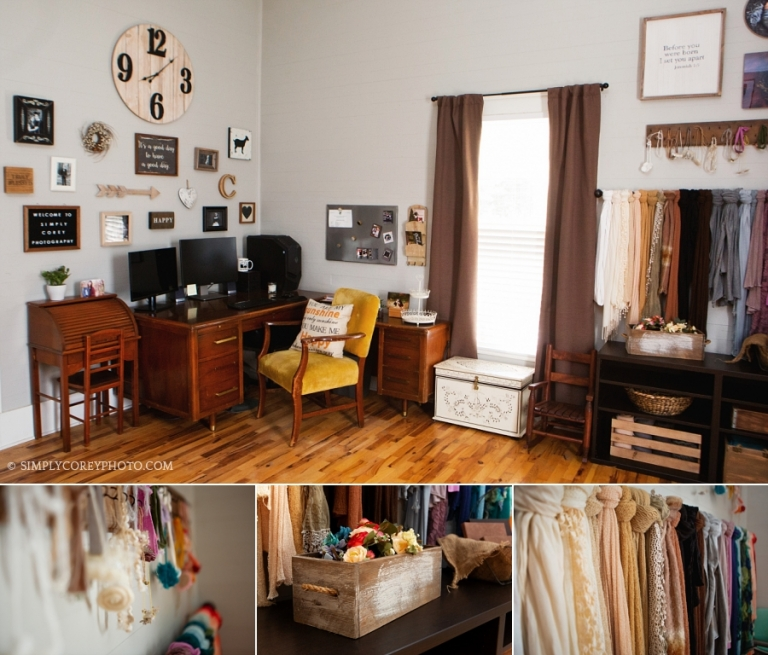 Atlanta baby photography studio props and home office