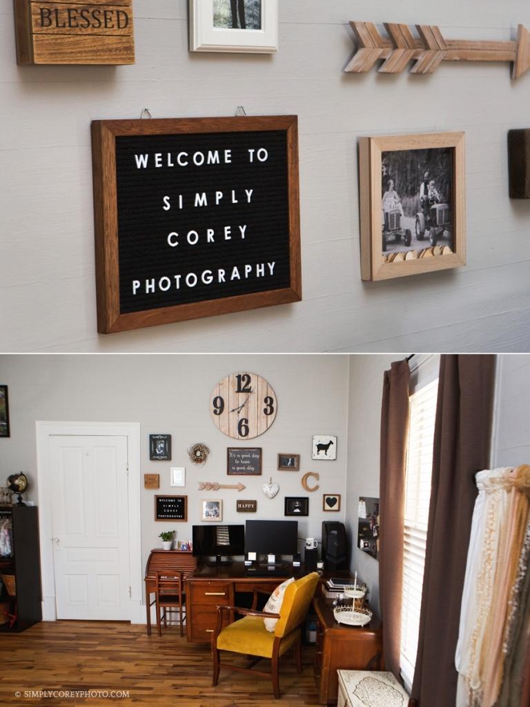 Newnan family photographer studio office wall gallery