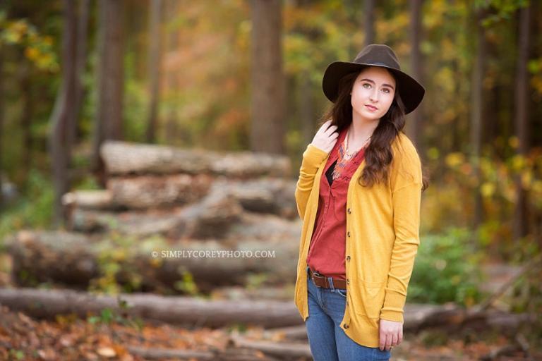 outdoor rustic boho senior portraits by Atlanta senior portrait photographer, South Paulding High School