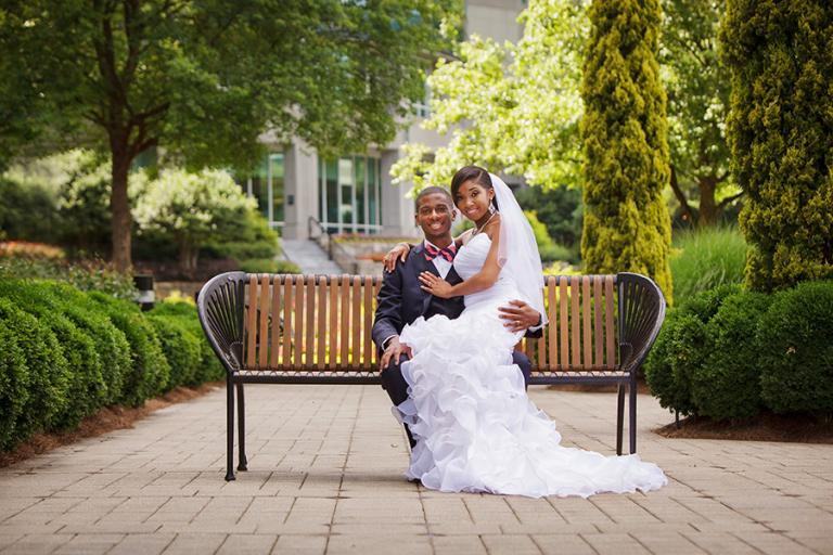 bride and groom outside the Westin Atlanta Perimeter North by Atlanta wedding photographer