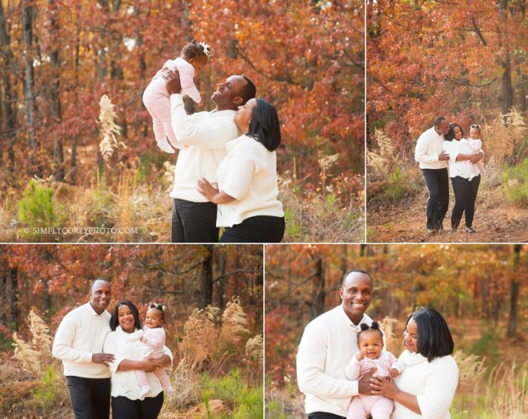 Douglasville family photography, fall portraits of parents with baby