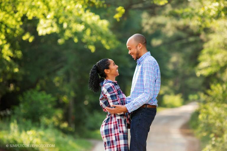 Atlanta couples photographer, outdoor portrait on a country dirt road