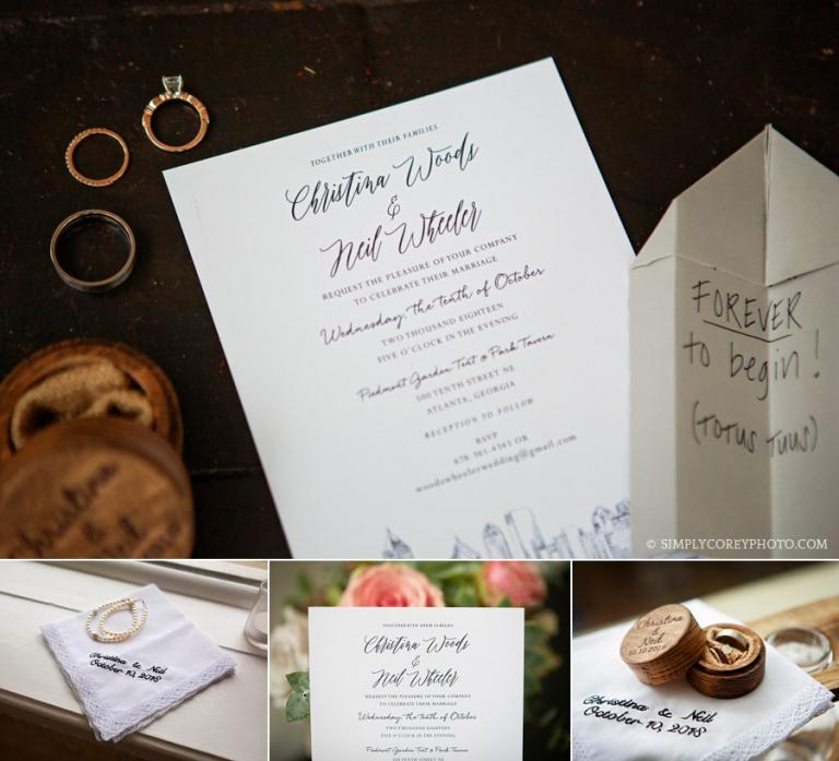 Carrollton wedding photographer, detail shot with invitation and rings