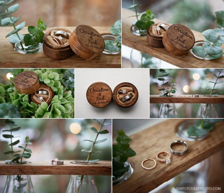 Newnan wedding photographer, rustic wooden ring box with eucalyptus