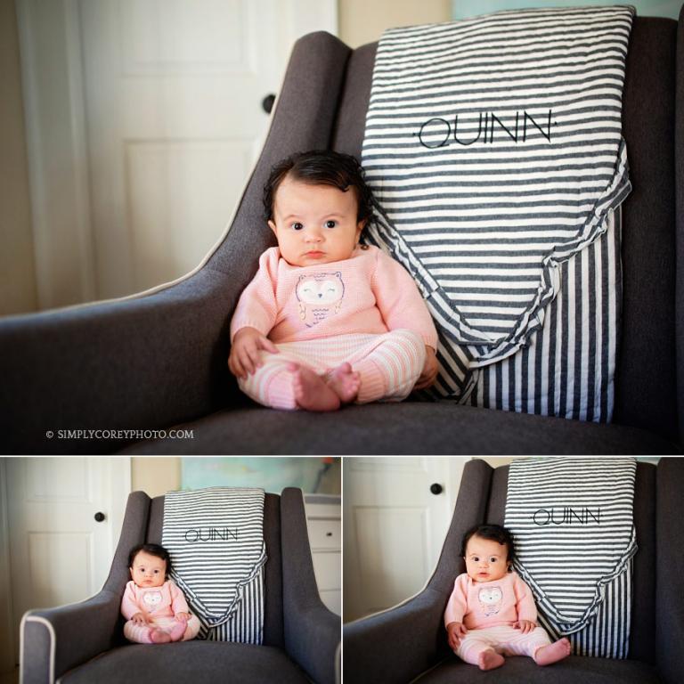 Atlanta lifestyle photographer, baby girl in a nursery chair