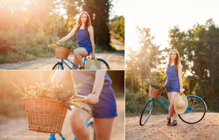 Douglasville senior portrait photographer, teen on a vintage bicycle in country