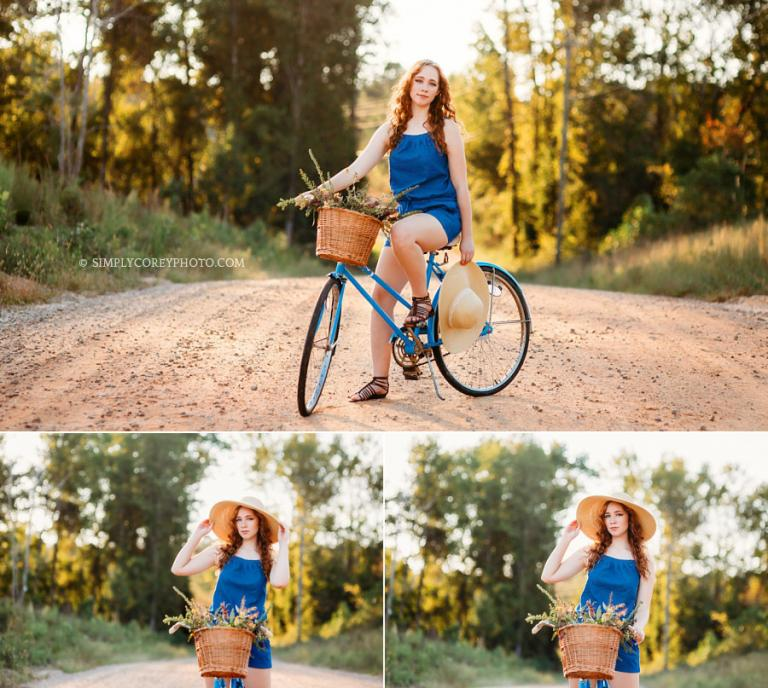 Carrollton senior portrait photographer, teen with vintage bike on dirt road