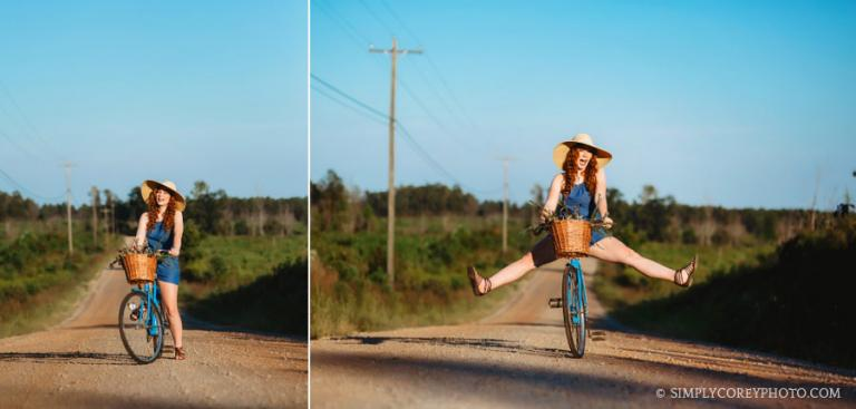 Newnan senior portrait photographer, teen on vintage bicycle with blue sky