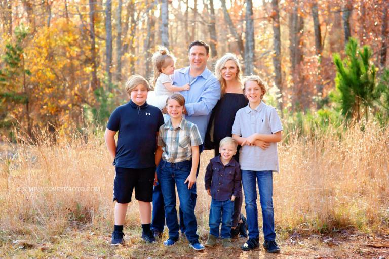 Atlanta family photographer, fall portrait session with a big family