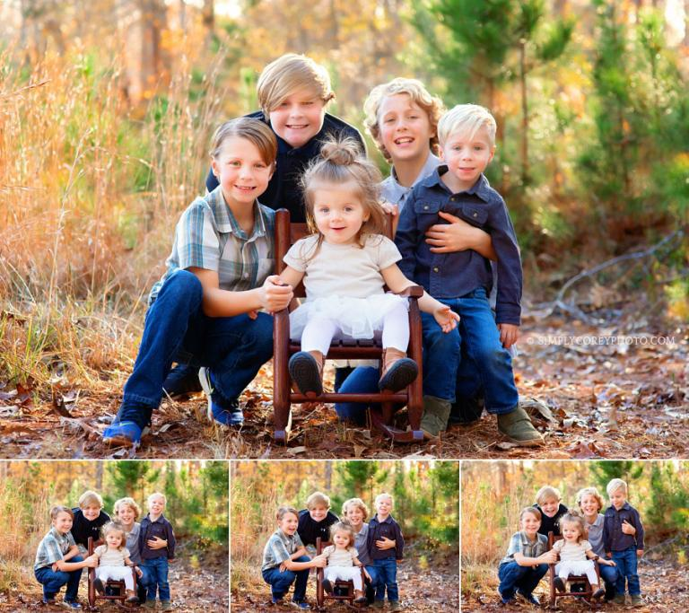 Douglasville family photographer, group photo of four brothers with baby sister