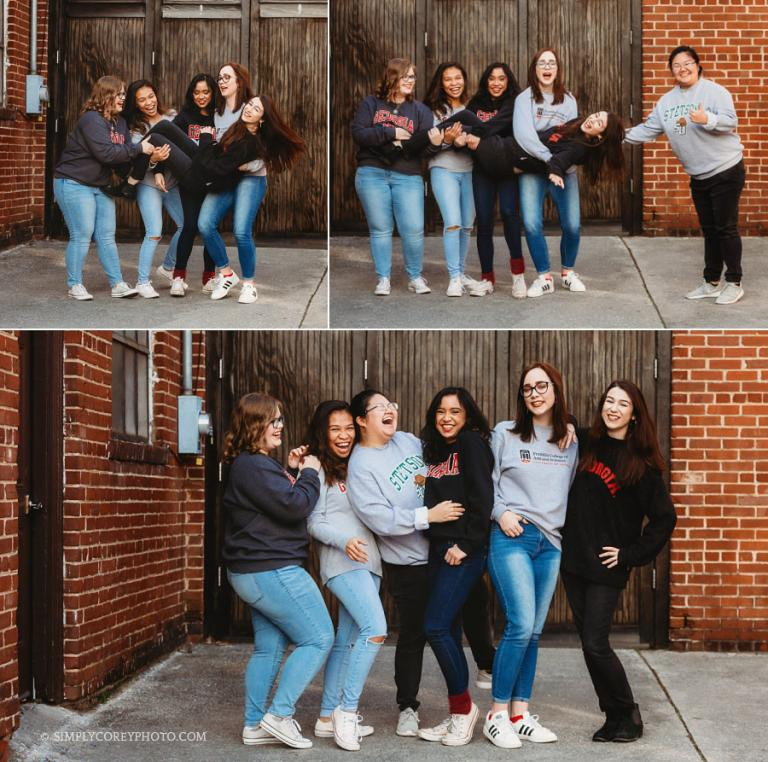 Newnan senior photographer, group of college friends goofing around