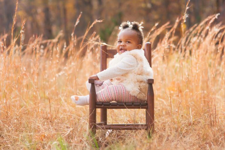 baby photographer Atlanta, girl outside in tall golden grass