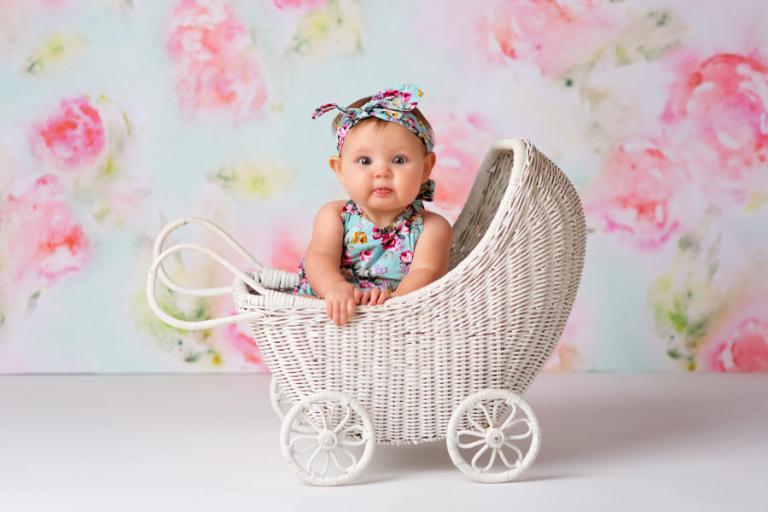 Douglasville baby milestone photographer, baby girl in carriage