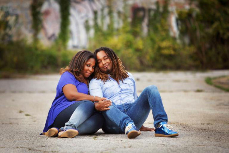 engagement photographer Atlanta, couple downtown by graffiti wall