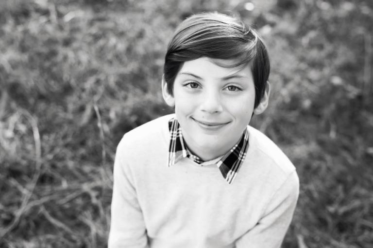 Villa Rica tween photographer, black and white headshot of a child