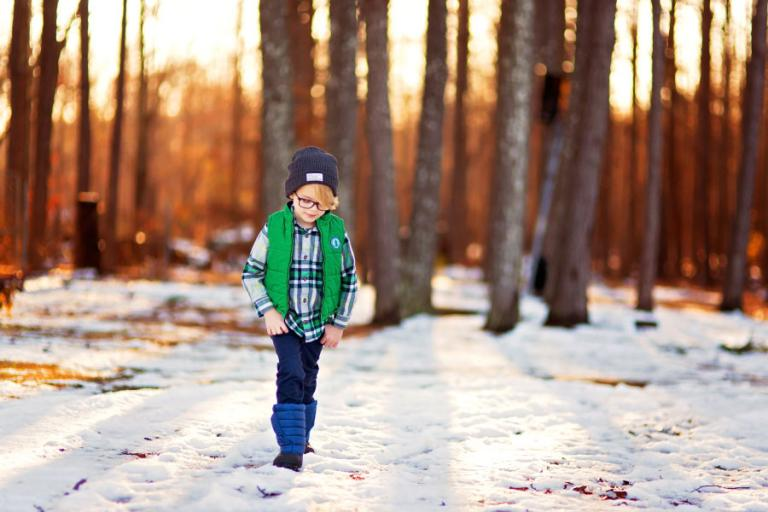West Georgia children's photographer, child walking outside in snow