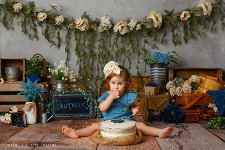 Atlanta cake smash photographer, blueberry naked cake for toddler session