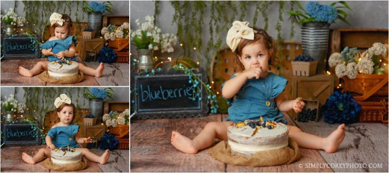 cake smash photographer Douglasville, toddler with a blueberry cake theme