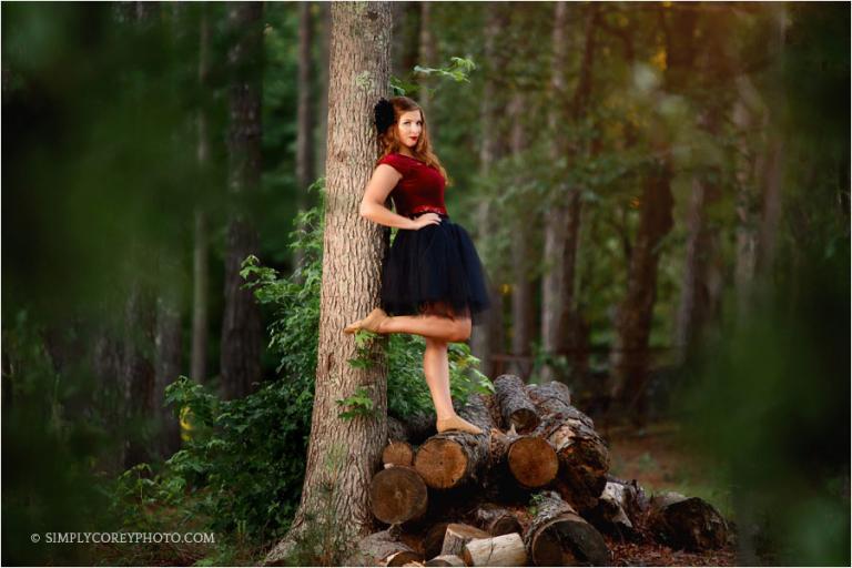 Atlanta senior portrait photographer, teen outdoor dance portrait