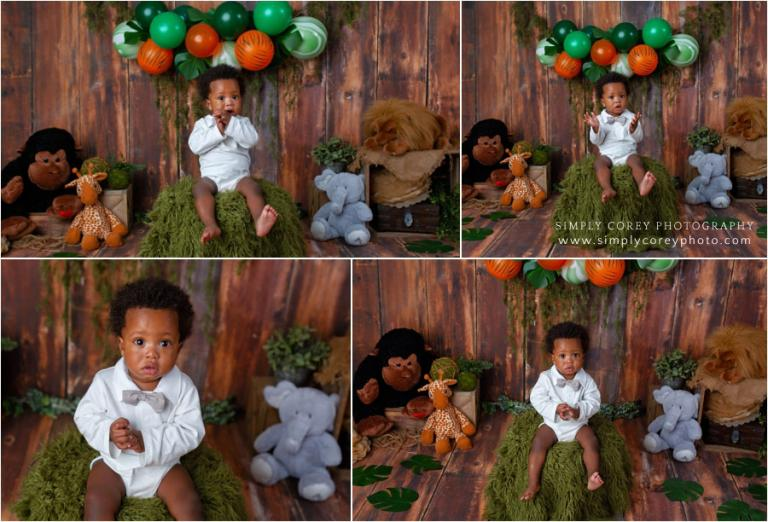 baby photographer near Bremen, jungle themed one year session